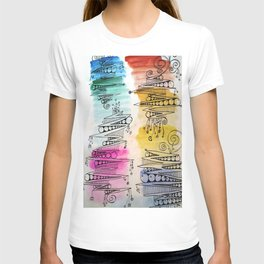 Colorful Zip Line Pattern T-shirt