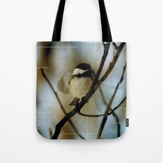 Black Capped Chickadee in motion with speckles Tote Bag