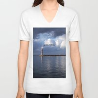 breathe V-neck T-shirts featuring breathe by gzm_guvenc