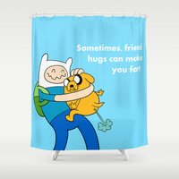 finn and jake Shower Curtains featuring Finn and Jake Fart  by Richtoon