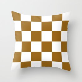 Large Checkered - White and Golden Brown Throw Pillow