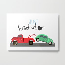 Just Hitched Newly Married Cars Metal Print