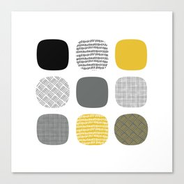 Abstract in mustard and grey Canvas Print