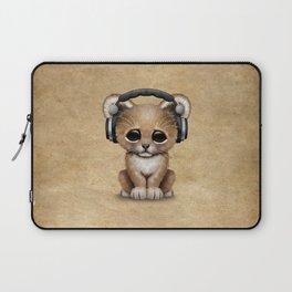 Cute Lion Cub Dj Wearing Headphones Laptop Sleeve