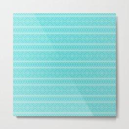 Aqua Sea Geometric Abstract Pattern Metal Print