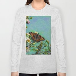 The butterfly collecting pollen on a flower Long Sleeve T-shirt