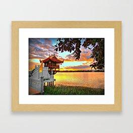 Shrine On The Lake. Framed Art Print
