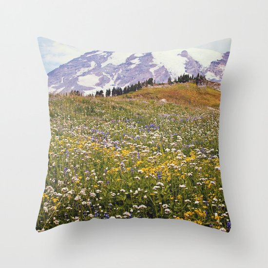 Rainier Flowers Throw Pillow