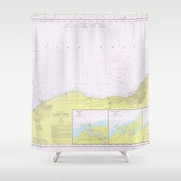 Vintage Lake Erie Coast Map (1965) Shower Curtain