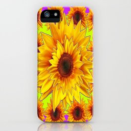 Golden Yellow Sunflower Pattern on Fuchsia Purple and Lime Green  Colors iPhone Case
