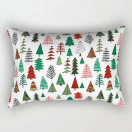 Christmas tree forest minimal scandi patterned holiday forest winter Rectangular Pillow