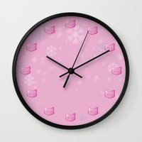 mew Wall Clocks featuring Silent Night: Mew by Constanzze