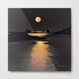 Blood Moon Reflection Metal Print