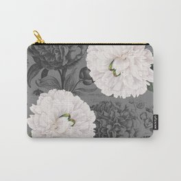White Peony Grey Chic Carry-All Pouch