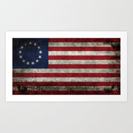 Betsy Ross flag, distressed textures Art Print