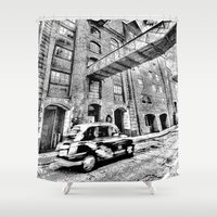 dark side Shower Curtains featuring Dark side London Art by David Pyatt