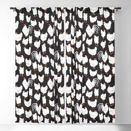Chickens Barnyard Repeat Pattern Illustration Blackout Curtain