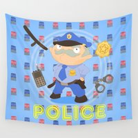 police Wall Tapestries featuring Police by Alapapaju