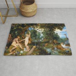 "Jan Brueghel the Elder, Peter Paul Rubens ""The Garden of Eden with the Fall of Man"" 1615 Rug"