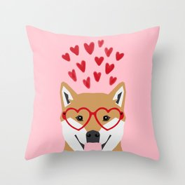 Shiba Inu love hearts dog breed pet gift pure breed shibas must have valentines day Throw Pillow