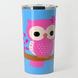 Pink Owl On A Branch | 8 Bit Pixel Art Travel Mug
