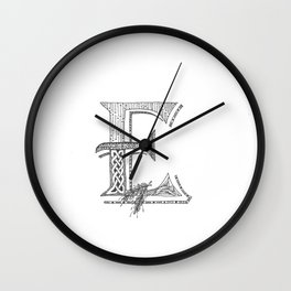 E Initial Letter Wall Clock