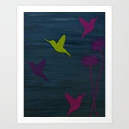 Birds in Flight(s) of Color- Dark Gray  Art Print