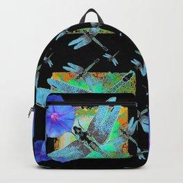 BLUE MORNING GLORIES & DRAGONFLIES BLACK ART Backpack