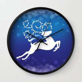 White Reindeer - Blue 55 Wall Clock