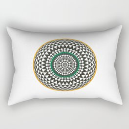 Black and White Geometric Star with Orange and Green Rectangular Pillow