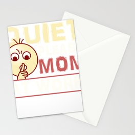 Mom Gift Quiet Please Mom At Work Mom Working Stationery Cards