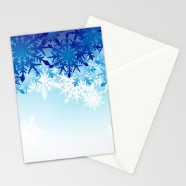 Blue & White Ombre Snowflakes / Winter / Christmas Stationery Cards