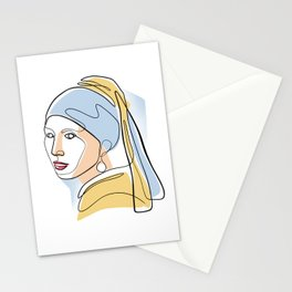 Girl with a Pearl Earring - One Line Drawing Stationery Cards