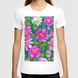 Pink Daisies Flower Party 2 by Jennifer Berdy T-shirt