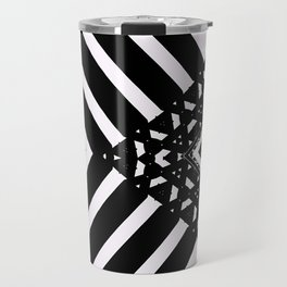 Modern Minimal Black White V Patten Travel Mug