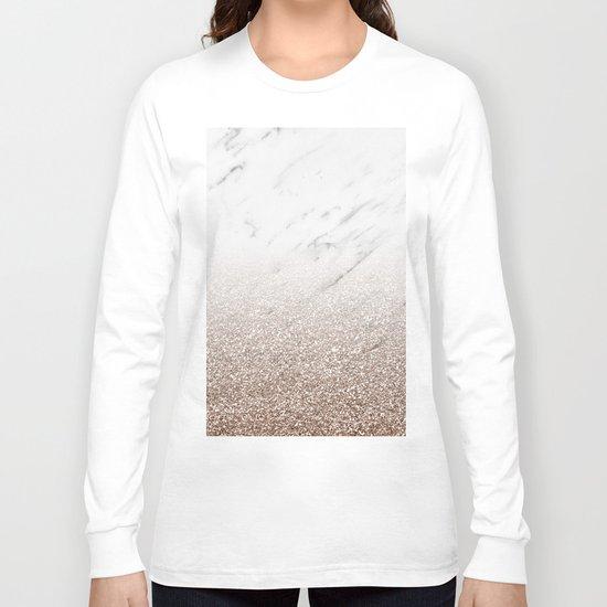 Glitter ombre - white marble & rose gold glitter Long Sleeve T-shirt