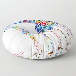 Colorful giraffes Floor Pillow