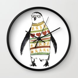 Cute penguin with a sweater Wall Clock