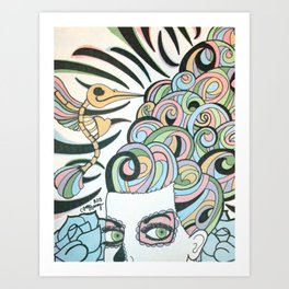 Pastel Hair Sugar Skull Art Print