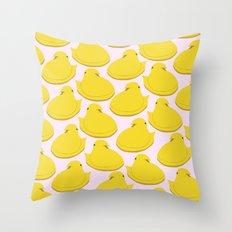 yellow peep Throw Pillow