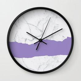 Elegant violet gray white modern marble pattern Wall Clock