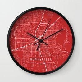 Huntsville Map, USA - Red Wall Clock