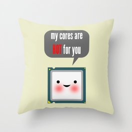 Cute blushing CPU My cores are hot for you Throw Pillow