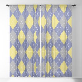 Gray Yellow and Blue Argyle Pattern V9 Pantone 2021 Colors of the Year & Accent Shades Sheer Curtain