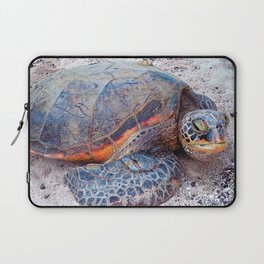Hawaii sea turtle on sandy beach close-up photo Laptop Sleeve
