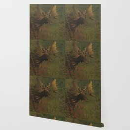 Vintage Painting of a Bull Moose Wallpaper