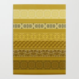 Yellow striped patchwork Poster
