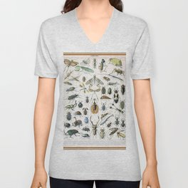 Adolphe Millot- Vintage Insect Print Unisex V-Neck