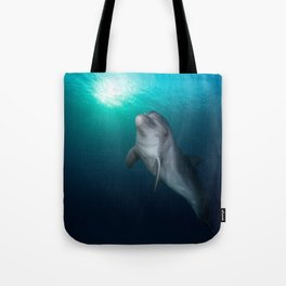 Dolphin in Ocean Blue amid the Reefs color photograph / photography by Tal Shema Tote Bag