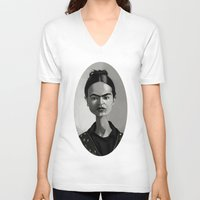 frida kahlo V-neck T-shirts featuring Frida Kahlo by Kostas Roussos